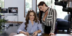 Kimmy Granger and Angela White make out on the table
