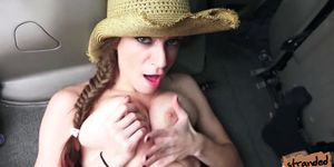 Teen Dillion shows her tits for free ride and she have