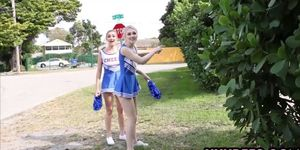 Cheerleader teens triple blowjob and fucking with coach