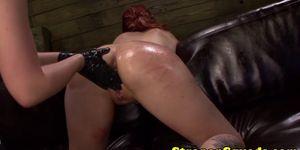 Lesbian sub in threeway dominated by mistress