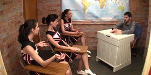 Triple Cheerleader Footjob