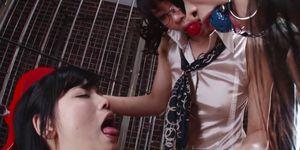 Japanese Lesbians, Bound Ball Threesome