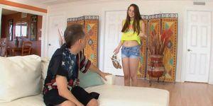 Elektra down on her knees slobbing step dads cock