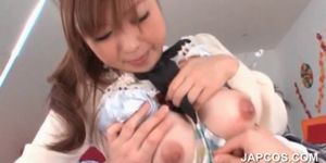 Japanese teen hottie flashing sexy assets in close-up