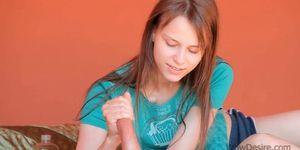 Teenage Beata showing her hand and footjob talents