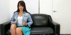 Busty casting hopeful shows tits
