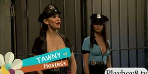 Two kinky sluts foursome in the jailcell with horny men