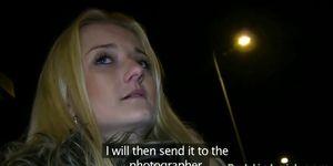 Hot blonde suckings huge dick and masturbates in public