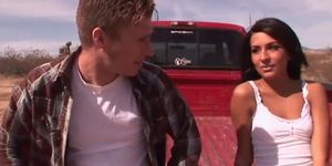Real hot babe blows and fucks guy on tailgate