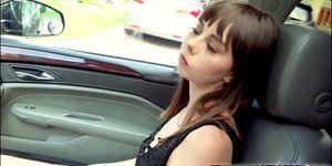 Tattoed teen Shae Celestine fucks hard in the backseat