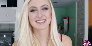 Cute horny blonde Alexa gets a milky cum inside her tig