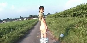 Horny jap babe flaunting hungry pussy outdoor gets fuck