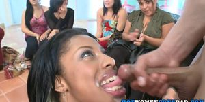 Party babe facialized and fucked