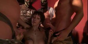 Busty French cougar Catalya Mia gangbanged in a cinema