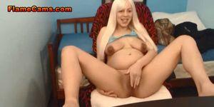 Pregnant Blonde Teen Rubs Her Clit