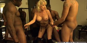 Huge cock interracial MILF orgy