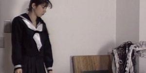 Japanese hot sex scene with brunette schoolgirl