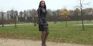 A Diva walking in peeptoes and leather