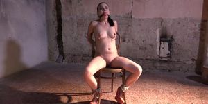 Euro Babe Cums While Drooling During Bdsm