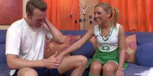 young blonde cheerleader sucking deep on meaty cock