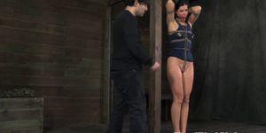Nipple punished hot sub milf tied up