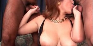 Japanese sex bomb flashing big tits and giving double B
