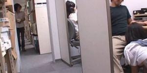 Teen asian nympho jumping and sucking dick at work