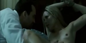 Celeb Maria Bello bare breasts and tied up in bed perky
