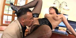 Secretary Renata fucked in black fishnet stockings