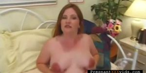Nasty Mom To Be Masturbates In Bed