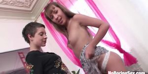 Cute teens have a threesome