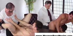 Older gay men group fucking young mormon guys
