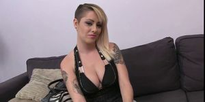 Busty tattooed blonde Nicole Malice fuck and blowjob in