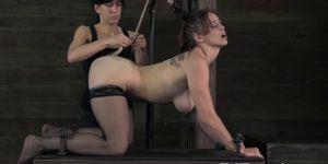Tied up anally hooked lezdom sub punished