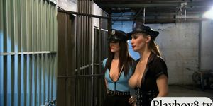 Two bitchy gals foursome in the jailcell with nasty dud