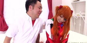 Asian cosplay babe as asuka langley swallows