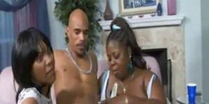 Bunch of black horny women sucking off stripper