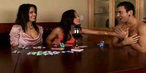 Naughty babes cheat at strip poker