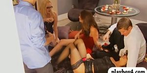 Two sexy ladies have fun with horny men in Foursome man