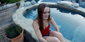 Delicious teen tugging cock in pov outdoors