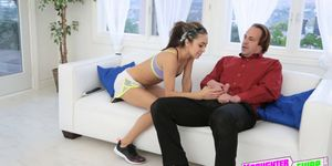 Yoga teenie needs help stretching from her friends dad