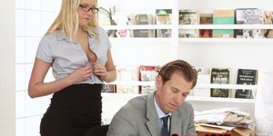 Beautiful blonde secretary loving her bossman