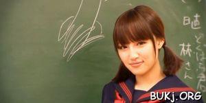 Asian schoolgirl sucks his teacher