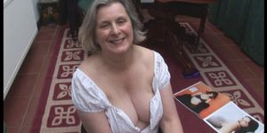 Curvy granny in stockings and short skirt