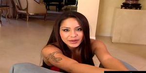 Jenaveve Jolie is a luscious brunette with long hair an
