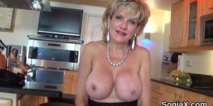 Unfaithful british mature lady sonia shows her massive