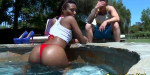 Big booty ebony bikini gets ass cumshot