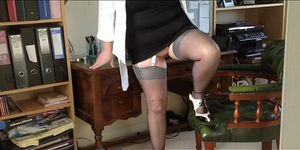 chubby english secretary slut in silk stockings and sus