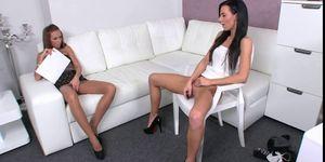 Brunette lesbians fucking vibrator on casting