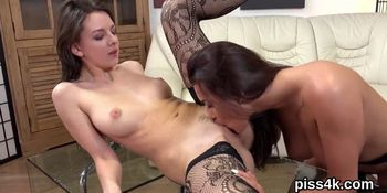 Kissable lesbian kittens get covered with pee and splat